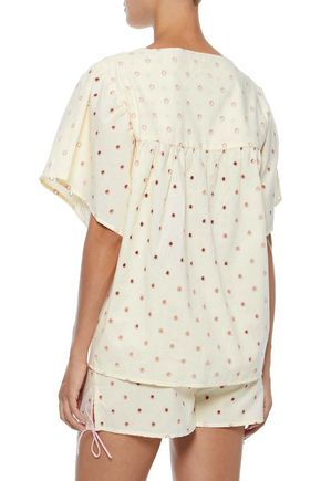 THREE J NYC Anna eyelet-embellished cotton-voile pajama set