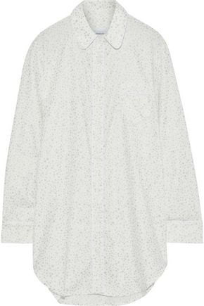 THREE J NYC Grace metallic printed cotton-flannel nightshirt