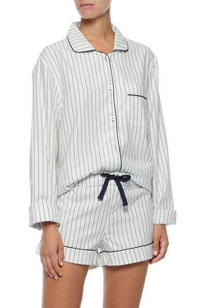 THREE J NYC Phoebe pinstriped cotton-flannel pajama set