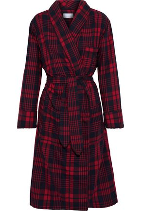 THREE J NYC Checked cotton-flannel robe