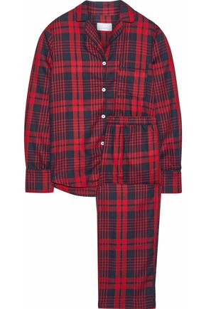 THREE J NYC Etoile checked cotton-flannel pajama set