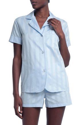 BODAS Striped cotton-jacquard pajama set