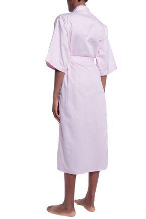 BODAS Striped cotton-poplin robe