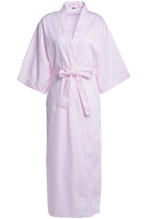 BODAS Striped cotton-poplin robe