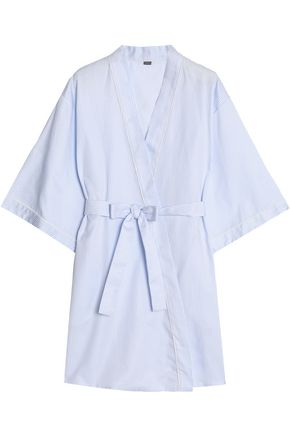 Belted Striped Cotton Poplin Robe by Bodas