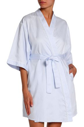 BODAS Belted striped cotton-poplin robe
