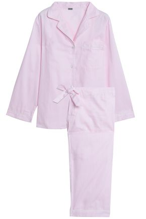 BODAS Striped cotton-poplin pajama set
