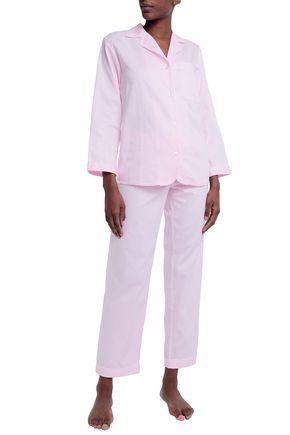 BODAS Striped cotton-poplin pajama set