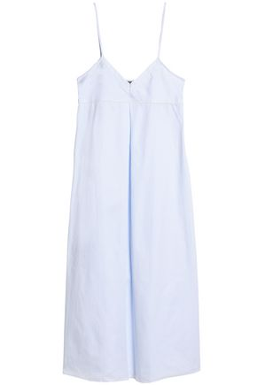 BODAS Striped cotton-poplin nightdress