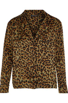 LOVE STORIES Jude leopard-print crepe de chine pajama top
