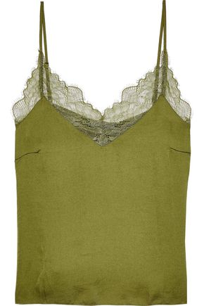 LOVE STORIES Camelia Chantilly lace-trimmed crinkled-charmeuse camisole