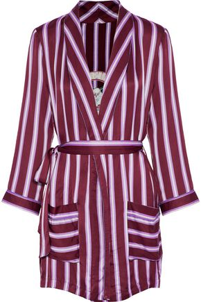 LOVE STORIES Ritz embroidered striped satin robe