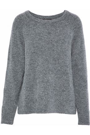 LOVE STORIES Jerry appliquéd mélange ribbed-knit sweatshirt