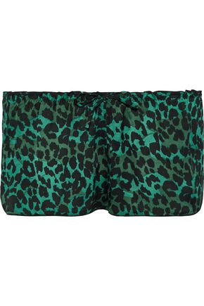 LOVE STORIES Audrey leopard-print sateen pajama shorts