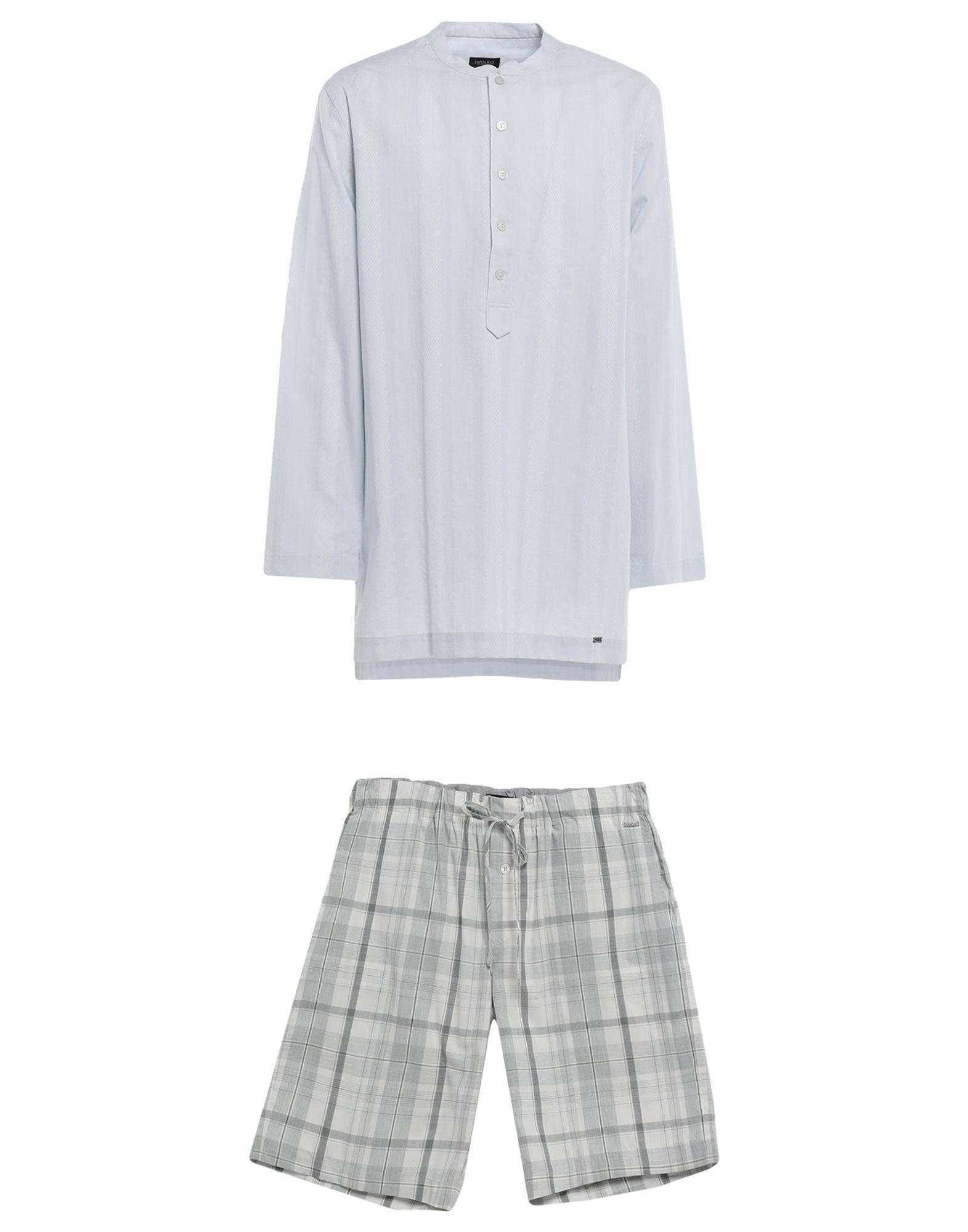 《期間限定セール中》HANRO メンズ パジャマ ライトグレー M 100% コットン