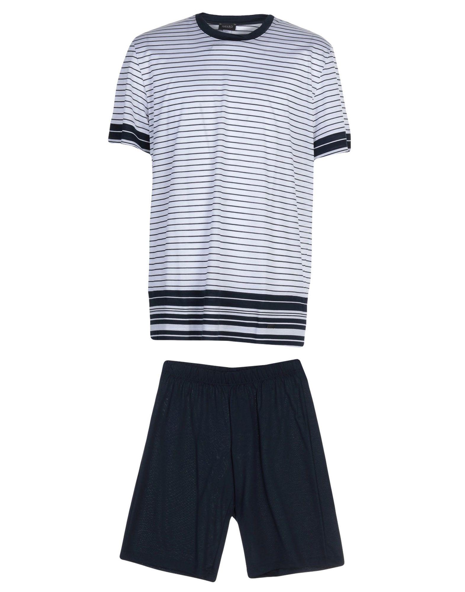 《送料無料》HANRO メンズ パジャマ ホワイト S コットン 100%