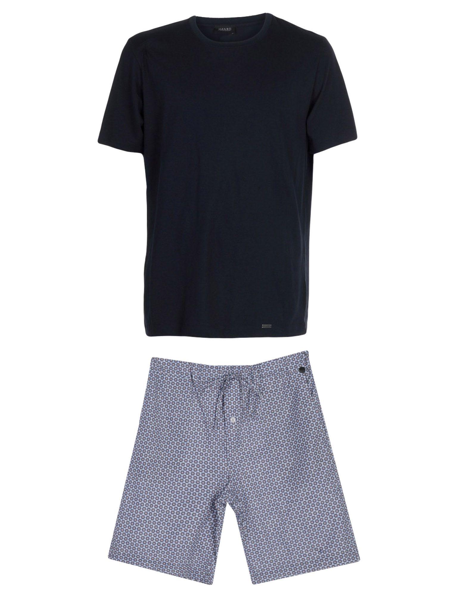 《送料無料》HANRO メンズ パジャマ ブルー M コットン 100%