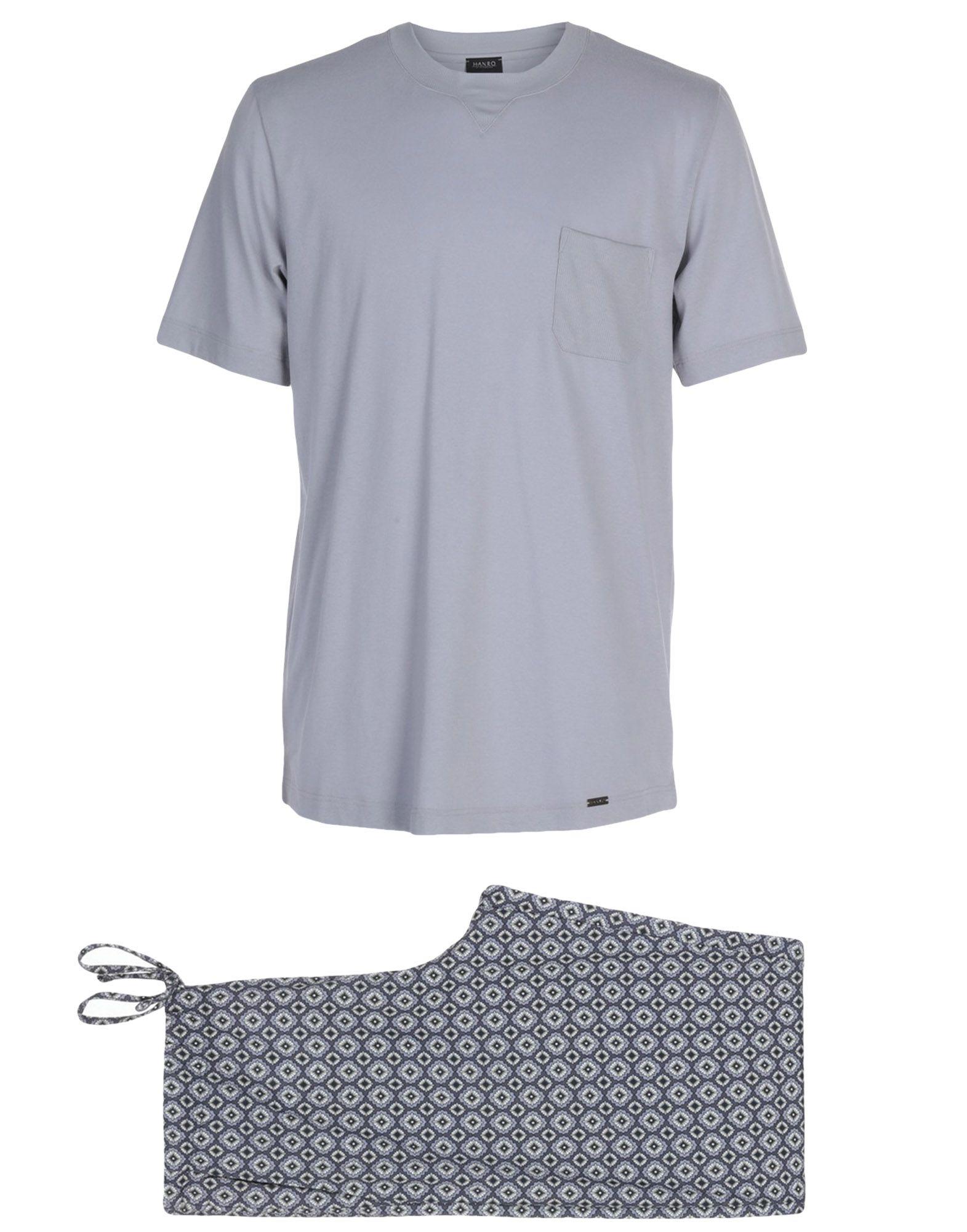 《送料無料》HANRO メンズ パジャマ グレー L コットン 100%