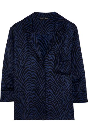 LOVE STORIES Jude zebra-print sateen pajama top