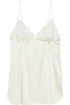 STELLA McCARTNEY Isabel Floating lace-paneled pintucked stretch-silk satin chemise