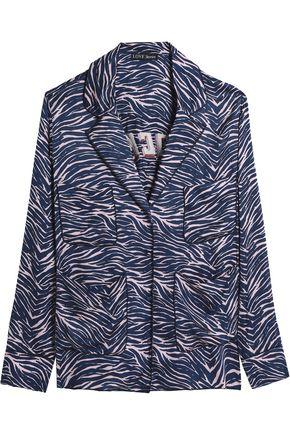 LOVE STORIES Bluemoon embroidered zebra-print crepe de chine pajama set