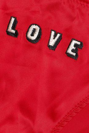 LOVE STORIES Rosie embroidered satin low-rise bikini briefs