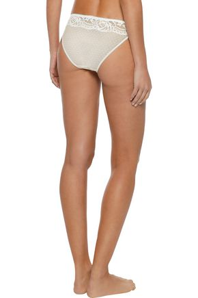 STELLA McCARTNEY Isabel Floating low-rise silk, lace and stretch-mesh briefs
