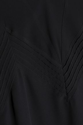 ANINE BING Pintucked crepe de chine camisole