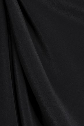 ANINE BING Lace-paneled silk crepe de chine midi slip dress