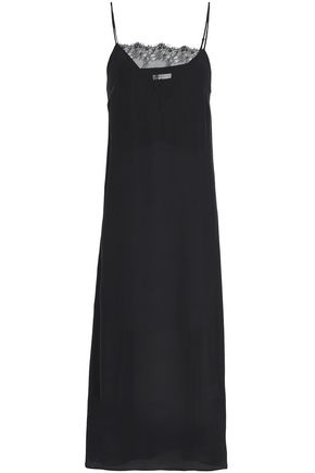 ANINE BING Lace-paneled silk crepe de chine midi slip dress