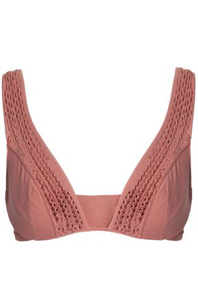 HEIDI KLUM INTIMATES Crochet-trimmed satin triangle bra