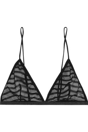 ANINE BING Striped tulle triangle bra