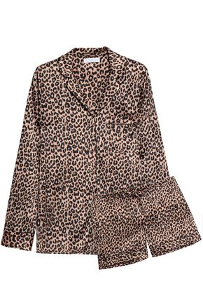 YOLKE Leopard-print silk-blend satin pajama set