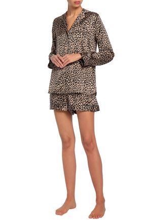 YOLKE Leopard-print silk-blend satin pajama set 15284b373