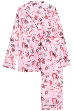 YOLKE Printed cotton-poplin pajama set