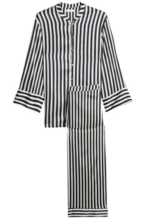 YOLKE Striped silk-blend satin pajama set