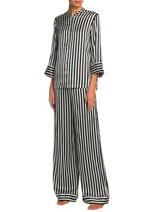 YOLKE Striped silk-blend satin pajama set