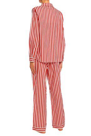 YOLKE Ruffle-trimmed striped cotton-poplin pajama set