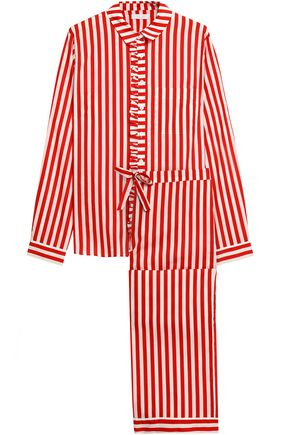 YOLKE Ruffle-trimmed striped cotton-poplin pajama set