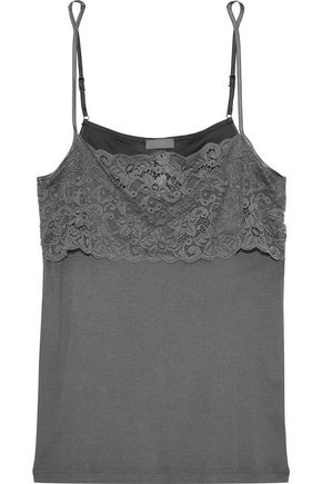 HANRO Luxury Moments lace-paneled cotton-jersey camisole