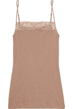 HANRO Lace-trimmed cotton-jersey camisole