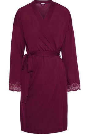 HANRO Uptown lace-trimmed stretch-jersey robe