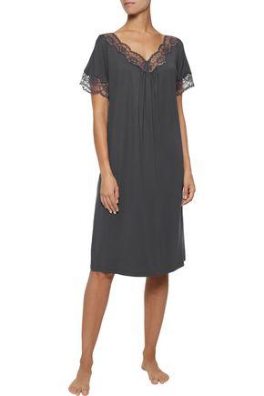 Hanro Dresses HANRO WOMAN VALENCIA LACE-TRIMMED STRETCH-MODAL NIGHTDRESS ANTHRACITE