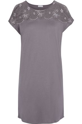 HANRO Greta lace-paneled modal and silk-blend nightdress