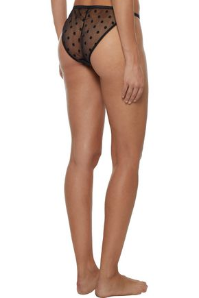 LOVE STORIES Wild Rose cotton-blend satin and embroidered tulle low-rise briefs