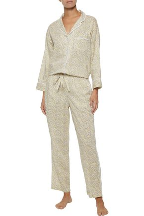 SLEEPY JONES Marina printed cotton-poplin pajama top