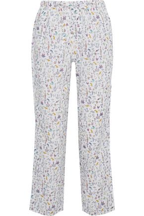 SLEEPY JONES Marina printed cotton-poplin pajama pants
