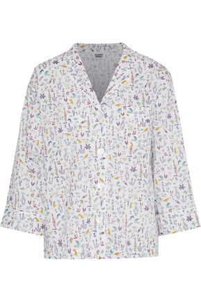 SLEEPY JONES Marina printed cotton-poplin pajama top