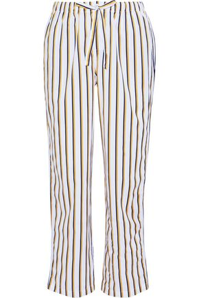SLEEPY JONES Marina striped cotton-poplin pajama pants