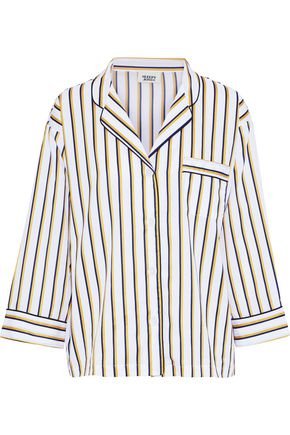 SLEEPY JONES Marina striped cotton-poplin pajama top